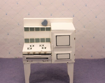 Tin Cook Stove w Oven Miniature Dollhouse Furniture Kitchen