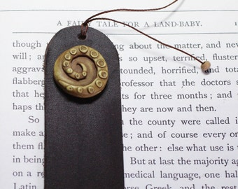 Cthulu steampunk octopus leather  bookmark