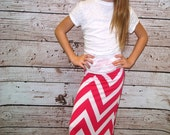 Hot Pink / White Chevron Maxi Skirt - Girls Maxi Skirt - Sizes 2 years - 12 years - Mommy & Me Matching Maxi Skirts - Free Shipping to USA