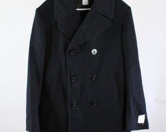 SALE - Vintage Deadstock Melton Heavy Wool Navy Blue Pea Coat Overcoat With Anchor Buttons - Mens Size Large