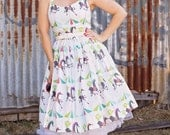 50's style My Pretty Pony carousel Print Cotton Dress, Pinup, vintage reproduction, novelty print