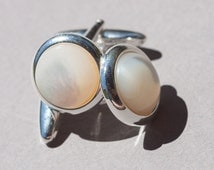 Ivory mother of pearl cufflinks, wedding cuff links, groomsman gift