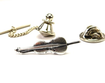 New Cello Pin- Cello Tie Tack- Sterling Silver Ox Finish- Cello Lapel Pin or Cello Tie Pin