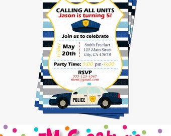 Police Party Invitations - Cop Party Invite - Police Birthday Party Printable Invite - Boy Party Invitations