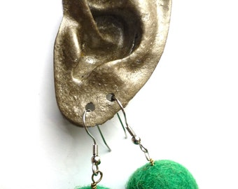 Needle Felted Ball Earrings Hand Made Handmade Upcycled Lisajoy Sachs Natural Wool Felt Grass Green Kelly Kelley  Balls Earring Pair Funny