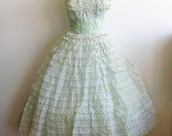 Vintage 50s Mint Green Ruffled Organza Tulle Strapless Party Prom Dance Dress