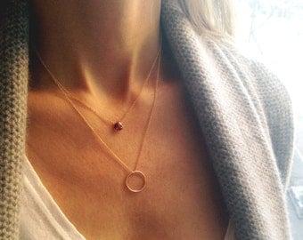 Garnet Necklace, Layered Necklace, Gold Garnet Necklace, Double Strand Necklace, 14k Gold Filled, Dainty Necklace, Two Strand Necklace