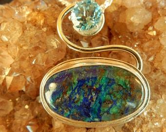 Azurite and blue topaz pendant