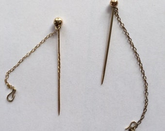 Pair Victorian Jewelry Safety Chains with Pins for Brooches