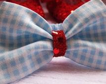 Baby and toddler girls headband Wizard of Oz baby newborn headband blue gingham - Dorothy