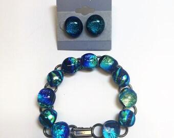 Fused Rainbow Dichroic Glass Bracelett and Earring Set