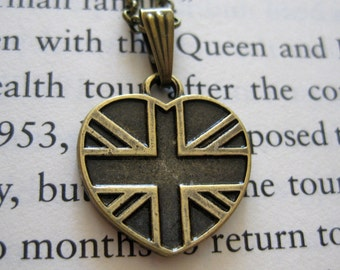 British Union Jack Flag Bronze Heart Charm Pendant