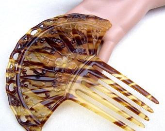Art Deco hair comb faux tortoise celluloid Spanish style hair accessory decorative comb headdress headpiece