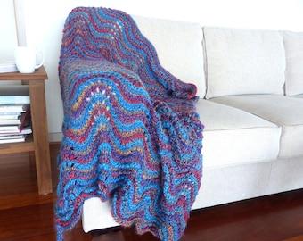 Blue Blanket hand Knit throw Blue Rug Hand knitted wool blanket Wedding gift