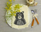 Set of Four Ivory Cotton Napkin with Hand Print Rustic Bear Design