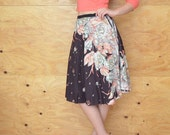 Reserved For Basil Vintage 70's Skirt Midi In Black With Peach, & White Flowers  A-line Cut SZ S/M