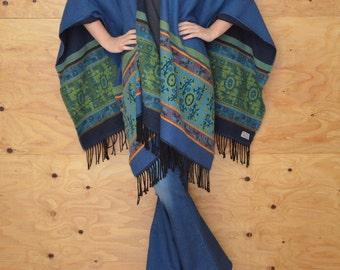 Vintage 80's Poncho Soft Flannel Material In Teal Striped Fringe At Hem One Size