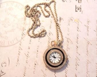 Vintage 1970s Watch Necklace Faux Pearl Black Enamel Jewelry