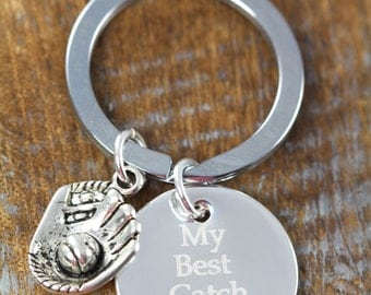 Gift for Him Personalized Baseball Key Ring, Softball, My Best Catch Custom Key Ring, Anniversary Gift for Him, Engraved Keychain