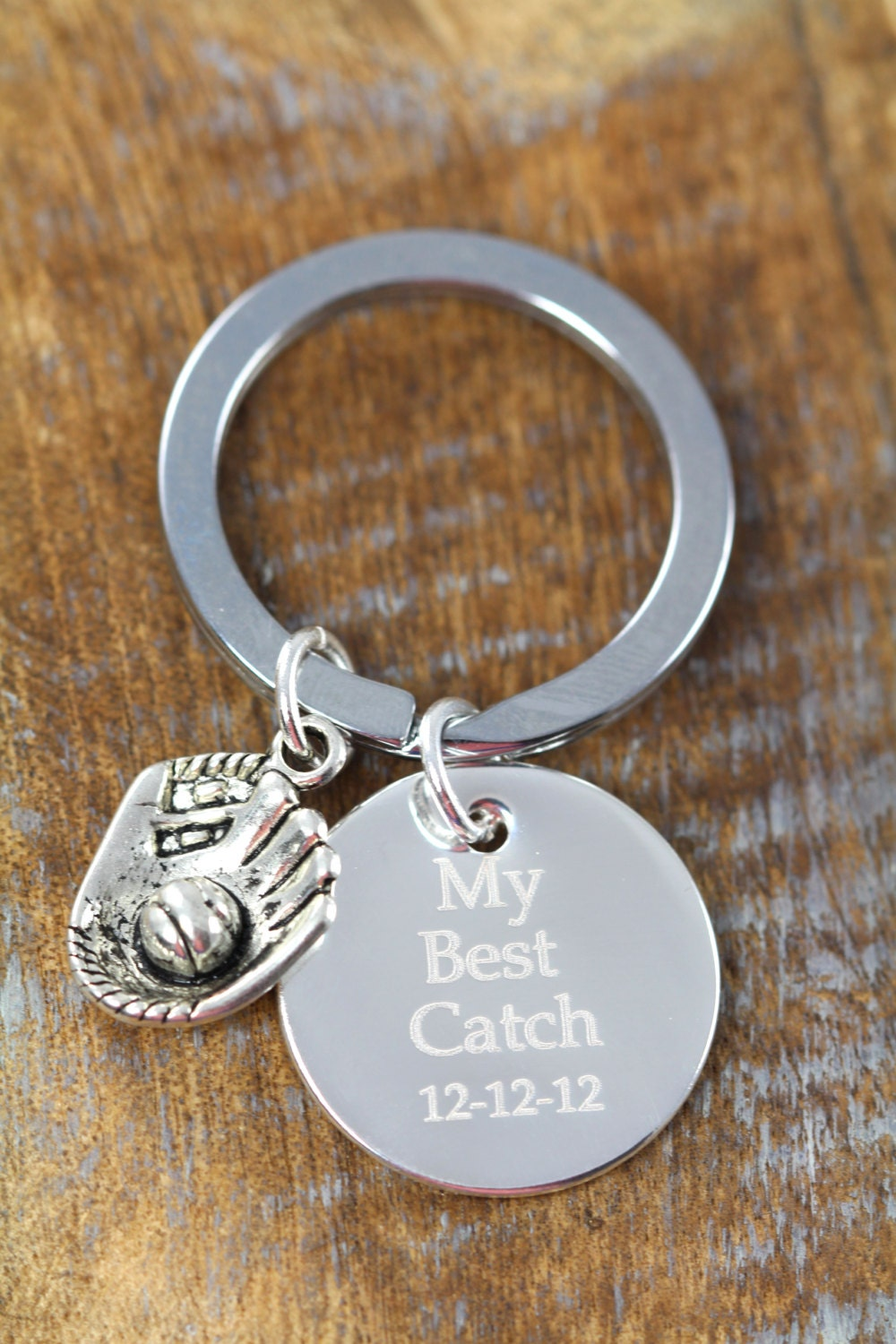 gift for him personalized baseball key ring softball my best