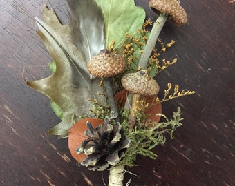 Mushroom Boutonniere - Woodland Wedding Rustic Groom Autumn Fall Pine Cone Oak Leaves Feather Moss Manly Acorn Winter Natural Fairy Unique