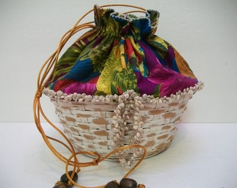 Handmade Basket Purse, Small Drawstring Purse, Unlined Basket Tote, Tropical Print Embellished with Shells, Crafts  Art Supplies Carry All