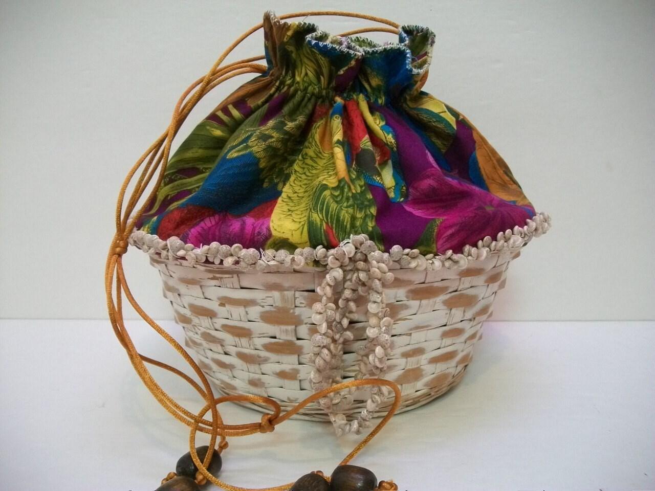 Handmade Small Baskets : Handmade basket purse small drawstring unlined