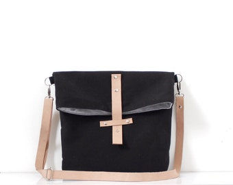 Medium Sling Bag, Edgy Canvas Messenger Bag, Black, Fold Over Sling Bag, Purse, Shoulder Bag, Crossbody Bag, Leather Strap