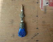 Antique carved lapis lazuli Chinese knot pendant amulet with pearls