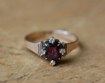 SALE // Antique 10K Roman lady intaglio with diamond stations ∙ amethyst glass intaglio with diamonds