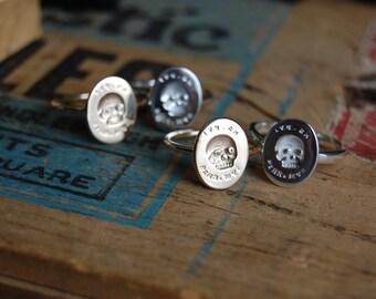 ES FUI 10K or 14K plain gold skull ring ∙ Victorian Memento Mori custom cast ring ∙ Latin epitaph Es, Fui; Sum, Eris