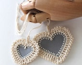 No. 007 crochet heart stationery blank grey heart tags