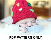 Elf Hat Knitting Pattern - Christmas Pixie Hat Pattern - the KRIS Hat (Newborn Baby thru Adult sizes incl'd) Christmas baby hat