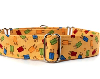 Summer Popsicles Martingale Dog Collar in 1.5 inch or 2 inch width