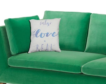 Only Love is Real Quote Pillow - ACIM Typography Watercolor Throw Pillow - Spiritual Text Art Decor - A Course in Miracles Quote Gift