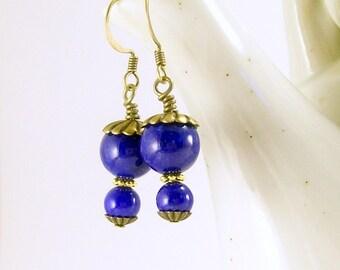 Blue Jade Stone Petite Dangle Earrings, Gemstone Jewelry