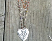 Multistrand Beaded Chain and Leather with Large Heart Pendant