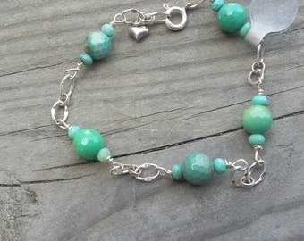Sea Green and Sterling Silver  Chain Bracelet