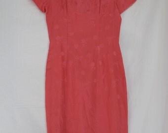 Pink Silk Mandarin Dress 1950s Vintage Short Asian Cheongsam Qipao Dress Size Small Hot Pink Valentine Party Dress