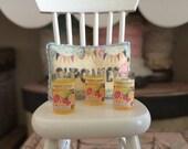 1:12 Scale - GLASS PILLAR CANDLE - Dollhouse Miniature