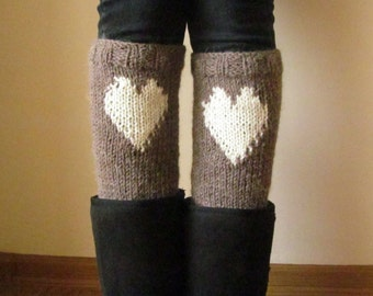 Hearts Brown Alpaca Leg Warmers, Women's Knit Boot Cuffs, Gift for Her, Eco Friendly