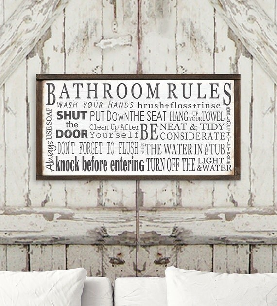 Bathroom Rules Wall Decor : Bathroom rules wall art wood sign washroom decor by toefishart