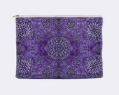 Boho zippered pouch, purple pencil case, toiletry bag, bohemian cosmetic pouch, makeup bag, large cosmetic bag, small clutch,lace print