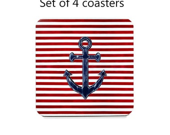 Nautical coaster set, drink coasters, set of 4, anchor coasters, red, white, blue, wine accessories, housewarming gift, cork back coasters