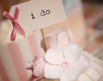 i do Party Picks - ivory with dusky pink bows - set of 10