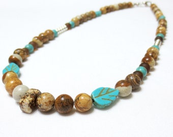 Men's Jasper Necklace, Father's Day Gift, 20-Inch Men's Choker for Him, Picture Jasper Beads, Tan and Brown Necklace, Turquoise and Howlite