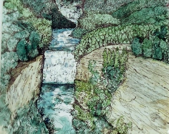 "Art Print ""Waterfall"" Pen&Ink with Watercolor"