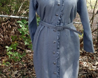 1980s does 1950s Wiggle Day Dress Houndstooth Pattern Sz 6 Vintage
