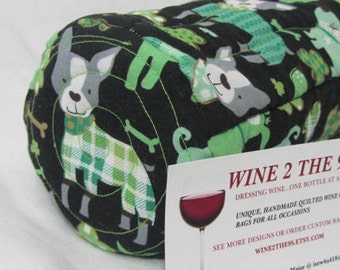 Wine Bag St Paddy's  Day Wine Carrier Gift Bag Fabric Wine Tote Quilted Wine Bag Dog Lover Hostess Gift