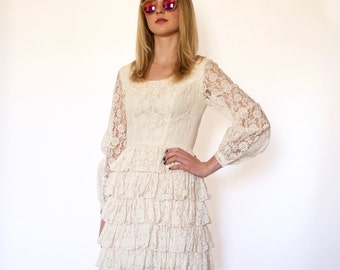 70s Boho Ivory Lace Fitted Tiered Skirt Dress xxs xs